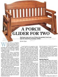 Porch Glider Plans - Outdoor Furniture Plans