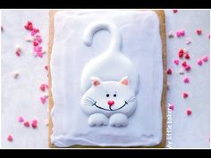 White cat cookie..simple design..My little bakery - YouTube