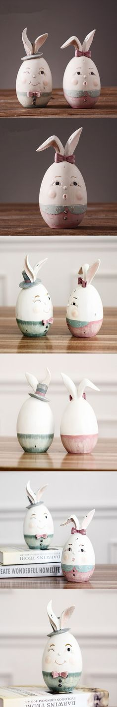 2 pcs lot vintage cute egg rabbit resin animal crafts home decor creative wedding gifts small easter bunny ornaments egg $49