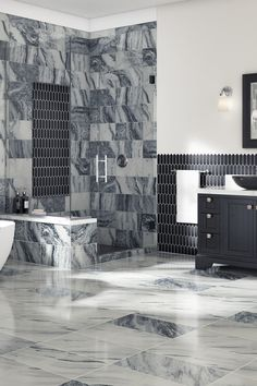 High-gloss tile can help achieve modern style in any space. Dream House Interior, Luxury Homes Dream Houses, Dream Home Design, House Design, Room Design Bedroom, Room Ideas Bedroom, Room Decor, Dream Bathrooms, Dream Rooms