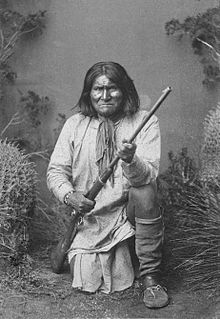 "Geronimo (Mescalero-Chiricahua: ""one who yawns""; June 16, 1829 – February 17, 1909) was a prominent Native American leader of the Bedonkohe Apache who fought against Mexico and the United States for their expansion into Apache tribal lands for several decades during the Apache Wars. ""Geronimo"" was the name given to him during a battle with Mexican soldiers. After an attack by a company of Mexican soldiers killed his mother, wife and three children in 1858, Geronimo took revenge on the Mexica..."