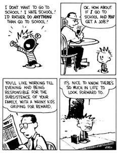 Calvin Und Hobbes, Calvin And Hobbes Comics, Mom Quotes, Funny Quotes, Calvin And Hobbes Wallpaper, The Jersey Devil, I Hate School, Short Comics, Calvin And Hobbes