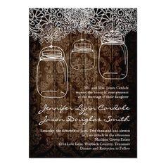 Mason Jar Lace Barn Wood Wedding Invitations for a rustic country wedding. Custom Mason Jars, Lace Mason Jars, Hanging Mason Jars, Mason Jar Wedding Invitations, Country Wedding Invitations, Custom Invitations, Shower Invitations, Jar Design, Wood Design