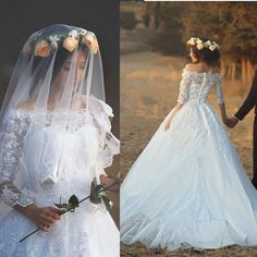 Find More Wedding Dresses Information about New Design 2016 Long Wedding Dress Boat Neck Half Sleeves Ball Gown…