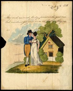 1811 letter sheet with a printed and handpainted picture of a couple in front of a cottage with hand written verse above, sent from Lynn to Ramsey with ''LYNN/MA 6/1811/104'' mileage datestamp. Some splitting to folds of address panel, the Valentine sheet fine. A rare early postally used Valentine. Photo. (Grosvenor Auctions)