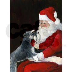 Schnauzer and Santa Greeting Cards (Pk of 10) on CafePress.com