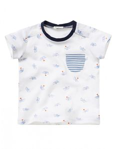 "100% cotton short sleeve t-shirt, with cute allover marine-themed print. Striped pocket at left breast. Two buttons on the collar, one of which is hidden, for easy wear<br>This garment features a ""Dress Safely"" tag: it has been made without the use of tox"