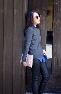 Poshclassymom silk blouse cashmere sweater vegan leather-based thin fold over pouch Christian Louboutin so kate tune of fashion mild monster sun shades.