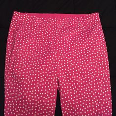 Ann Taylor Pink Polka Dot Pants Like new, bought from Twice but never worn. Pink straight leg pant with white polka dots. Ann Taylor Pants Straight Leg