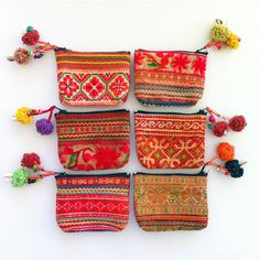 Tribal fabric coin purse Hmong Hill Tribe fabric by midgetgems