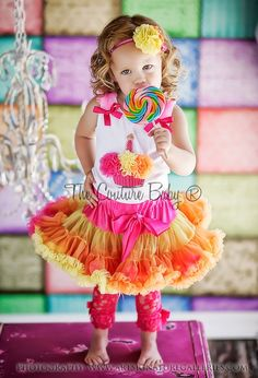 Possible 1st birthday outfit for Emma. We are going for an all pink/orange circus theme
