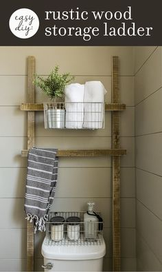 Easy (& practically free) DIY Rustic Wood Projects for your Bathroom How to make this EASY rustic bathroom storage ladder with scrap wood in one afternoon!How to make this EASY rustic bathroom storage ladder with scrap wood in one afternoon! Diy Storage Ladder, Bathroom Storage Ladder, Wood Storage, Toilet Storage, Storage Ideas, Craft Storage, Diy Ladder, Wood Ladder, Extra Storage