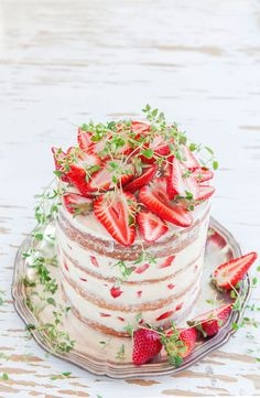 ... strawberry cake with thyme, olive oil and meringue buttercream ...