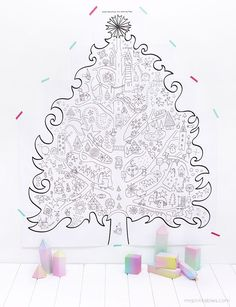 Free Christmas Tree Coloring Printable to deck the walls and keep kids (or adult guests) busy.