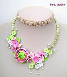 Statement Flower Necklace Pink Jewelry Flower Jewelry