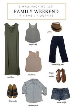 What to Pack: A Weekend Family Trip (Updated to Add What I Really Wore) Make packing for a weekend family trip easy with these 9 items that can be worn at least 7 ways. Weekend Trip Outfits, Weekend Packing List, Vacation Packing, Vacation Outfits, Summer Outfits, Travel Packing, Travel Capsule, Packing Lists, Vacation Checklist