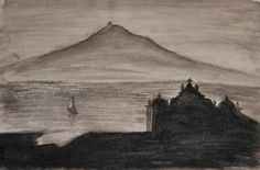 Vista da Ilha do Pico a partir da Horta, Ilha do Faial, Açores.  Aguada de Tinta da China