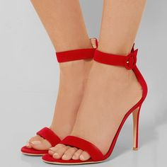 Shoespie Red Open Toe Ankle Strap Buckle Sandals