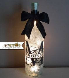 Lighted Wine Bottle, Monogram, Personalized Gift, Last Name, Wedding Gift, Bridal Party Gift, Decorated Wine Bottle, Kitchen Decor