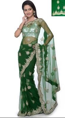Charming Bottle Green Embroidered Saree