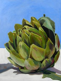 """Saatchi Online Artist: Rupert Sutton; Acrylic 2010 Painting """"Portarit of an artichoke"""""""