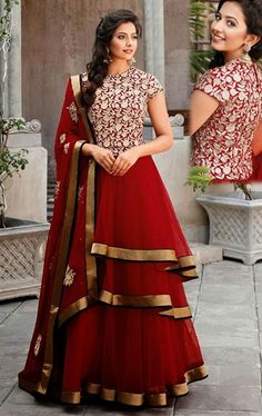 Picture of Scintillating Crimson Salwar Kameez for Party and Wedding