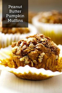 Yum! This Peanut Butter Pumpkin Muffin recipe with a crumbly pecan topping will really make your mornings spiced up and enjoyable this fall!