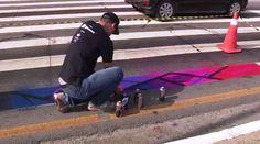 Para conscientizar pedestres, artistas pintam faixas em Florianópolis +http://brml.co/2aPhsTF