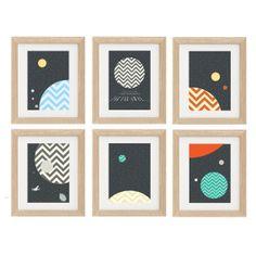Set of 6 Star Wars Planets Poster : Modern Movie Seventies Illustration Retro Art Wall A4 8 x 11
