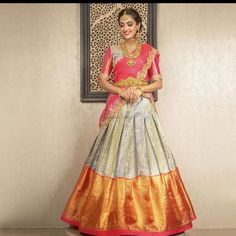 23 Elegant Saree Lehenga Designs For The South Indian Brides! Indian Lehenga, Half Saree Lehenga, Lehnga Dress, Saree Look, Ghagra Saree, Khadi Saree, Lehenga Choli Designs, Wedding Saree Blouse Designs, Half Saree Designs