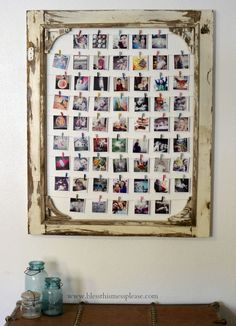 DIY Instagram Photo Display made from an old screen door! You could also use a big frame...