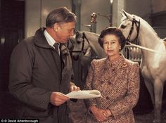 Long-term friends: Sir David Attenborough meets the Queen as she prepares to give her 1987...