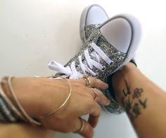 GLITTER SHOES - How to make glitter shoes tutorial #DIY #glitter