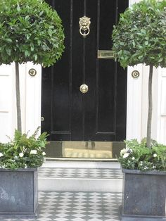 Belgravia - Glossy black door with brass hardware, zinc planters and topiaries and diamond B & W tiles