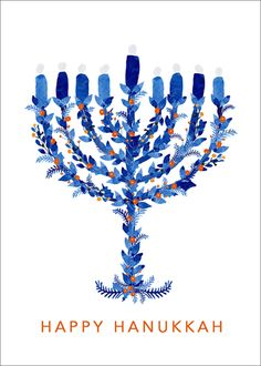 Hanukkah Menorah Foldover Holiday Cards