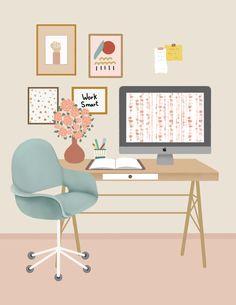 Room Illustration - Bright Idea - Home, Room, Furniture and Garden Design Ideas Office Walls, Office Wall Art, Office Decor, Aesthetic Room Decor, Aesthetic Art, Doodle Drawing, Leg Art, Design Living Room, Hand Painting Art