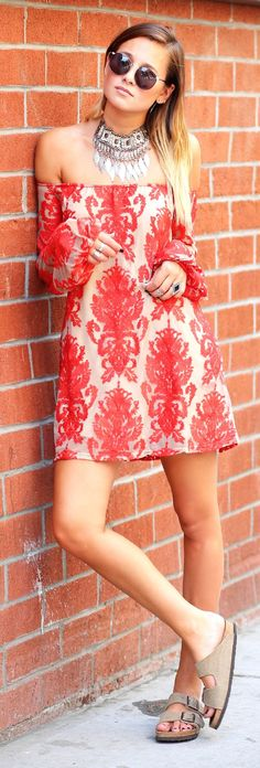 Love & Lemons Red And Beige Off The Shoulder Embroidered Mesh Little Dress by We Wore What