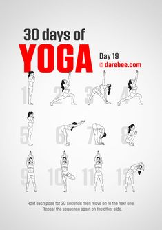 Yoga For Beginners 30 Day Challenge - Fitness Style 30 Day Yoga Challenge, Workout Challenge, Darbee Workout, Yoga Day, Morning Yoga, 30 Days Of Yoga, Improve Mental Health, Types Of Yoga, Yoga Fitness