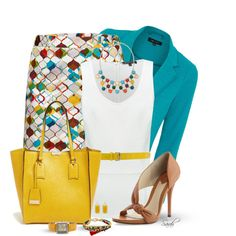 """""""Style These Items Contest in Yellow and Blue"""" by of-simple-things on Polyvore"""