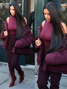 Kim Kardashian making her way to husband Kanye West's Yeezy Season 5 Fashion Show at Pier 59 Studios in New York City on February 15, 2017