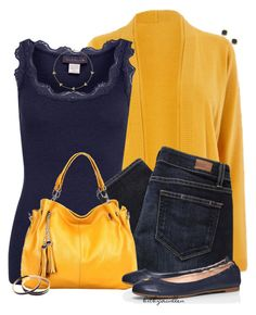 """""""Mustard & Navy"""" by bitbyacullen ❤ liked on Polyvore featuring Rosemunde, Paige Denim, Tory Burch, Tuleste, Kiki mcdonough and Kendra Phillip"""