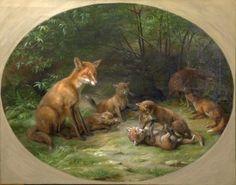Johannes Christian Deiker (1822-1895) - A family of Foxes, oil on canvas, 58,5 x 76,5 cm.