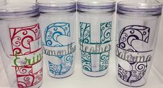 """Yeti Decal, 4"""" Monogram Sticker, Glitter Vinyl for stainless cups, Car Decal…"""