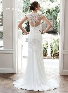 Gorgeous illusion back on this understated sheath wedding dress, Tenley by Maggie Sottero.