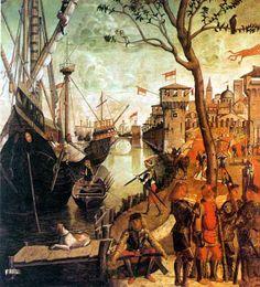 . L'arrivée de Sainte Ursule à Cologne Ce tableau est un simple interne de dans l'histoire, on y voit la ville de Cologne et des hommes en armes prêts à défendre la ville. Le Navires sont ceux qui transportent Ursule et ses 10 000 Vierges. Carpaccio nous monte l'arrivée de bateau de haute mer