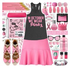 """We Wear Pink (Mean Girls)"" by beautifully-eclectic ❤ liked on Polyvore featuring Kenzo, Malone Souliers, Current Mood, M.A.C, Mikey, Bling Jewelry, philosophy, Sharpie, Smythson and NARS Cosmetics"