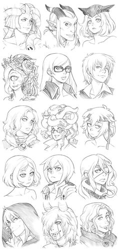 151130 - Headshot Commissions Sketch Dump 10 by Runshin