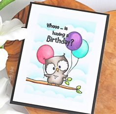 Guest Design - Owls by Michelle Short - Gerda Steiner Designs, LLC Old Birthday Cards, Bday Cards, Handmade Birthday Cards, Book Crafts, Paper Crafts, Owl Card, Copic Sketch Markers, Cardmaking And Papercraft, Fall Cards