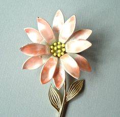 peach, old gold and slate blue... beautiful brooch too!