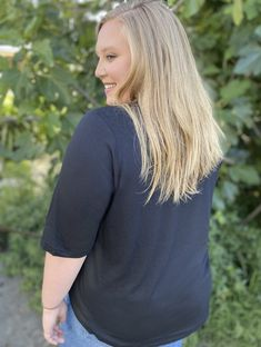 This smooth, lightweight cotton jersey is soft and airy. Has a lovely drape and nice movement. Subtle scoop neckline with elegant, minimal binding, and comfy elbow-length sleeve. Made In Los Angeles. Plus Size Fashion. In color Midnight Blue. Plus Size Tees, Perfect Woman, Midnight Blue, Cotton Tee, Plus Size Outfits, Plus Size Fashion, Hemline, Shirt Designs, Minimal